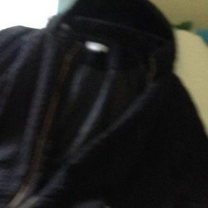 Soft black velvety car coat with hood